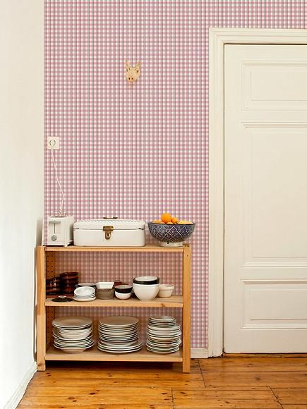 Mustertapete Karos 02 - Karos 02 in der Küche
