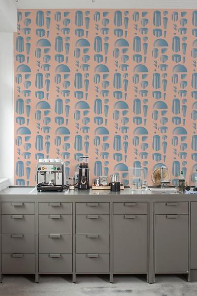 Mustertapete Petra 02 - Petra 02 in der Büroküche