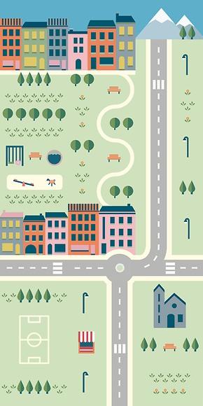 Kindertapete Stadt 01 - Gesamtansicht