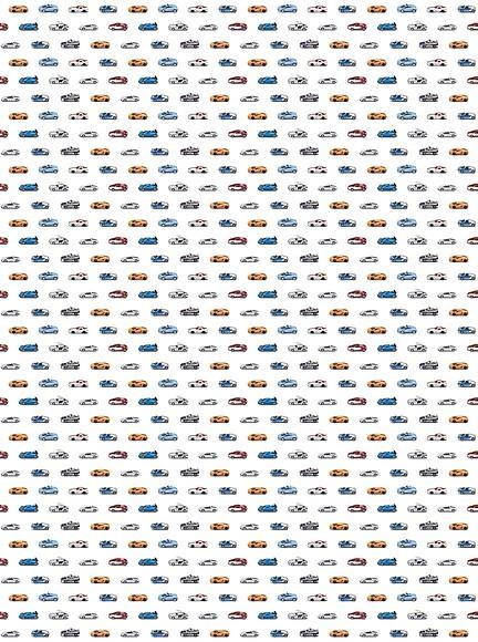 Kindertapete Autos - Gesamtansicht (4 Bahnen)