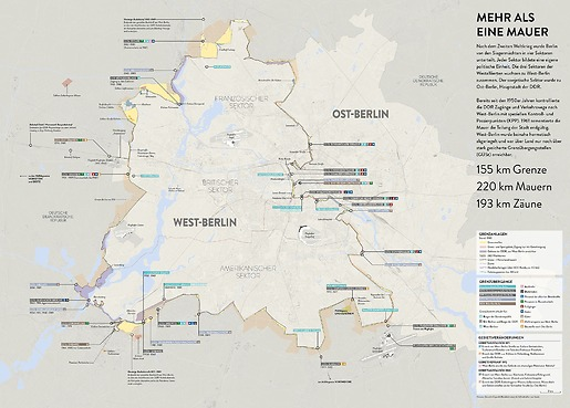 Infografik Tapete Berliner Mauer - Gesamtansicht