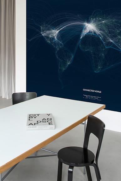 Infografik Tapete Connected World 02 - Connected World 02 im Büro