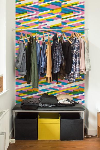Mustertapete Diagonalen 03 - Diagonalen 03 in der Garderobe