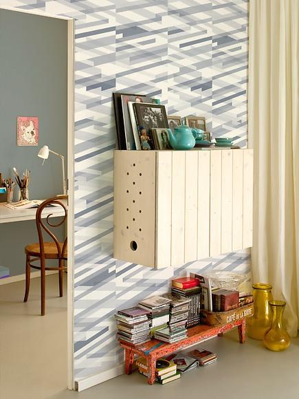 Mustertapete Diagonalen 04 - Diagonalen 04 im Wohnzimmer